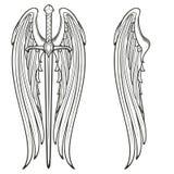 Φτερά ξιφών και αγγέλου ελεύθερη απεικόνιση δικαιώματος