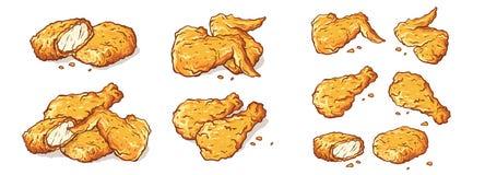 Φτερά ποδιών και τηγανισμένο ψήγματα απομονωμένο κοτόπουλο σύνολο απεικόνιση αποθεμάτων
