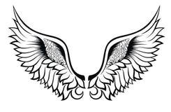 Φτερά. Σχέδιο δερματοστιξιών διανυσματική απεικόνιση