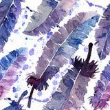 Φτερά Watercolor και άνευ ραφής σχέδιο λεκέδων Στοκ φωτογραφίες με δικαίωμα ελεύθερης χρήσης