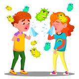 Φτερνιμένος αγόρι και κορίτσι που περιβάλλονται από το διάνυσμα βακτηριδίων πετάγματος Απομονωμένη απεικόνιση κινούμενων σχεδίων απεικόνιση αποθεμάτων