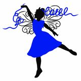 Φτερωτός ballerina ή gymnast γοητείας, πριγκήπισσα με τις κορδέλλες, καρδιά και η αγάπη λέξης απεικόνιση αποθεμάτων