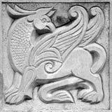 Φτερωτό λιοντάρι νεράιδων, bas-ανακούφιση Στοκ Εικόνες