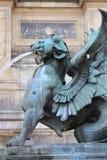 Φτερωτό λιοντάρι στην πηγή Αγίου Michael Στοκ Εικόνες
