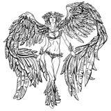 Φτερωτό όμορφο κορίτσι διανυσματική απεικόνιση