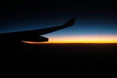Φτερό αεροπλάνων σκιαγραφιών Στοκ Φωτογραφίες