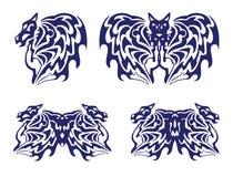 Φτερό ενός αλόγου, ενός ροπάλου και μιας πεταλούδας με τα κεφάλια αλόγων απεικόνιση αποθεμάτων