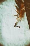 φτερό, παλαιό έγγραφο άνωθεν Στοκ φωτογραφία με δικαίωμα ελεύθερης χρήσης