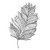 Φτερό στο ύφος zentangle Διακοσμητικός γεμίστε Απομονωμένος στο λευκό Στοκ εικόνα με δικαίωμα ελεύθερης χρήσης