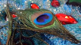 Φτερό Peacock στη διακόσμηση Στοκ φωτογραφία με δικαίωμα ελεύθερης χρήσης