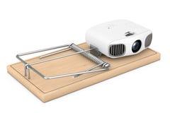 Φτηνή ηλεκτρονική έννοια προβλημάτων Πλήρης HD εγχώριων κινηματογράφων προβολέας ψυχαγωγίας στην ξύλινη ποντικοπαγήδα τρισδιάστατ απεικόνιση αποθεμάτων