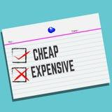 Φτηνός ή ακριβός σε χαρτί με το δημιουργικό σχέδιο για την κάρτα χαιρετισμών σας ελεύθερη απεικόνιση δικαιώματος