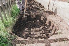 Φτυάρι σε μια τρύπα Για να σκάψει μια τρύπα Για να σκάψει μια τρύπα στο α Στοκ Εικόνες