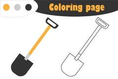 Φτυάρι στο ύφος κινούμενων σχεδίων, χρωματίζοντας σελίδα, παιχνίδι εγγράφου εκπαίδευσης για την ανάπτυξη των παιδιών, προσχολική  απεικόνιση αποθεμάτων