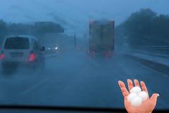 Φτωχές συνθήκες οδήγησης θύελλας έννοιας Στοκ φωτογραφία με δικαίωμα ελεύθερης χρήσης