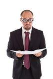 Φτωχή ανάγνωση επιχειρηματιών θέας Στοκ φωτογραφία με δικαίωμα ελεύθερης χρήσης