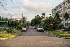 Φτωχή κατοικήσιμη περιοχή με τα διαμερίσματα στις πολυκατοικίες τρωγλών στοκ φωτογραφία με δικαίωμα ελεύθερης χρήσης