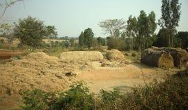 Φτωχό ινδικό οικιακό αγρόκτημα 2 Άντρα Πραντές, Anantapur Στοκ φωτογραφίες με δικαίωμα ελεύθερης χρήσης