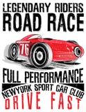 Φυλή αθλητικών αυτοκινήτων Αυτοκίνητο για την εκτύπωση Διανυσματική αφίσα φυλών παλιών σχολείων ελεύθερη απεικόνιση δικαιώματος