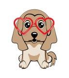 Φυλή κυνηγόσκυλων Κάρτα ημερησίως βαλεντίνων s Σκυλί μαλαγμένου πηλού σε μια ριγωτή ζακέτα, γυαλιά στα ρόδινα καρδιών διασκέδασης ελεύθερη απεικόνιση δικαιώματος