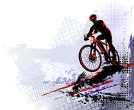 Φυλή ποδηλάτων Αθλητισμός ποδηλατών Κατάρτιση αναβατών ποδηλάτων για τον ανταγωνισμό σε έναν δρόμο ανακύκλωσης Αφίσα, έμβλημα, πρ Στοκ Εικόνες