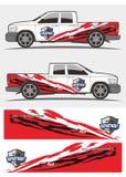 Φυλετική κόκκινη και μαύρη decal γραφική παράσταση για το φορτηγό και τα οχήματα Στοκ Εικόνες