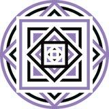 Φυλετική των Αζτέκων γεωμετρική σχέδιο ή τυπωμένη ύλη στον κύκλο Στοκ Φωτογραφία