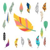 Φυλετικό επίπεδο φτερών διαφορετικό ύφους πουλιών εκλεκτής ποιότητας ζωηρόχρωμο εθνικό συρμένο χέρι καλάμι φύσης σχεδίων στοιχείω Στοκ Φωτογραφία