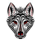 Φυλετικό σχέδιο δερματοστιξιών προσώπου λύκων Στοκ Εικόνες