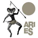 φυλετικό zodiac aridly Άτομο με το κεφάλι κριού και λόγχη που χορεύει υπό εξέταση ένας φυλετικός χορός διανυσματική απεικόνιση