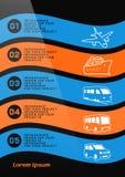 Φυλλάδιο ή σχέδιο εμβλημάτων Ιστού με τα εικονίδια μεταφορών ταξιδιού Στοκ Εικόνα