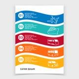 Φυλλάδιο ή σχέδιο εμβλημάτων Ιστού με τα εικονίδια μεταφορών ταξιδιού Στοκ φωτογραφία με δικαίωμα ελεύθερης χρήσης