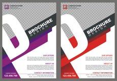 Φυλλάδιο - ιπτάμενο με την κάλυψη ύφους λογότυπων γραμμάτων ` Δ ` διανυσματική απεικόνιση