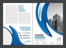 Φυλλάδιο, ιπτάμενο, σχέδιο προτύπων με το μπλε και άσπρο χρώμα απεικόνιση αποθεμάτων