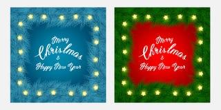 Φυλλάδιο και κάρτες Χριστουγέννων flayer με τους κλάδους δέντρων, σύνθημα, λεπτό πλαίσιο, ελαφριά γιρλάντα στο κόκκινο και μπλε υ Στοκ φωτογραφία με δικαίωμα ελεύθερης χρήσης
