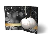 Φυλλάδιο σφαιρών Χριστουγέννων, απεικόνιση καρτών Στοκ εικόνα με δικαίωμα ελεύθερης χρήσης