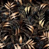 Φυλλώδες διανυσματικό άνευ ραφής σχέδιο Floral μαύρη ταπετσαρία υποβάθρου Στοκ Εικόνες