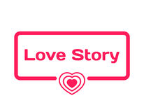 Φυσαλίδα διαλόγου προτύπων του Love Story στο επίπεδο ύφος στο άσπρο υπόβαθρο Με το εικονίδιο καρδιών για τη διάφορη λέξη της πλο Στοκ φωτογραφία με δικαίωμα ελεύθερης χρήσης