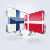Φυσαλίδες και ομιλία φινλανδικός και δανικά διανυσματική απεικόνιση