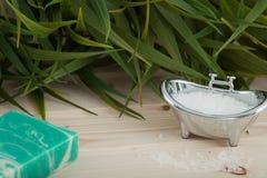 Φυσικά αλατισμένα, οργανικά προϊόντα λουτρών που τοποθετούνται στο ξύλινο υπόβαθρο με τα εξαρτήματα SPA Στοκ Εικόνες