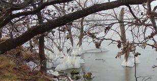 Φυσικά κάστρα πάγου στη λίμνη του Τέξας Στοκ Φωτογραφίες