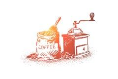 Φυσικά φασόλια καφέ που αλέθουν τον εξοπλισμό, το σάκο με τα σιτάρια και το κουπί, παλαιός χειρωνακτικός μύλος απεικόνιση αποθεμάτων
