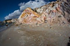Φυσικά χρώματα της παραλίας Firiplaka, Μήλος, Ελλάδα Στοκ Φωτογραφίες