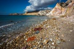 Φυσικά χρώματα της παραλίας Firiplaka, Μήλος, Ελλάδα Στοκ φωτογραφίες με δικαίωμα ελεύθερης χρήσης