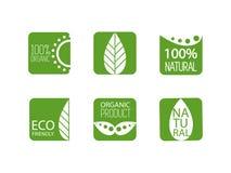 Φυσικές οργανικές ετικέτες επίσης corel σύρετε το διάνυσμα απεικόνισης Σύνολο διαφορετικών πράσινων διακριτικών Βιο, φυσικός, οργ Στοκ Εικόνες