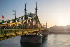 Φυσική άποψη της γέφυρας ελευθερίας στη Βουδαπέστη Στοκ Φωτογραφία