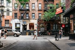 Φυσική άποψη της οδού MacDougal στη Νέα Υόρκη στοκ εικόνες