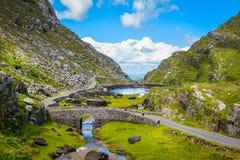 Φυσική άποψη της Gap Dunloe, ιρλανδική αγελάδα κομητειών, Ιρλανδία στοκ εικόνα
