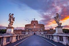 Φυσική άποψη του Castle του ST Angelo στη Ρώμη στην ανατολή Στοκ Φωτογραφίες