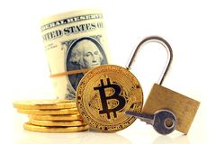 Φυσική έκδοση Bitcoin, νέες εικονικές πιστώσεις Στοκ Φωτογραφία